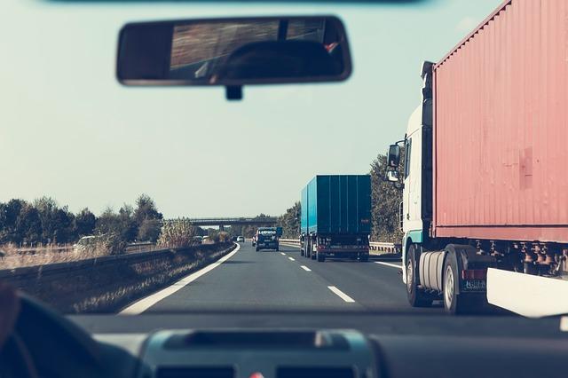 Road truck driving